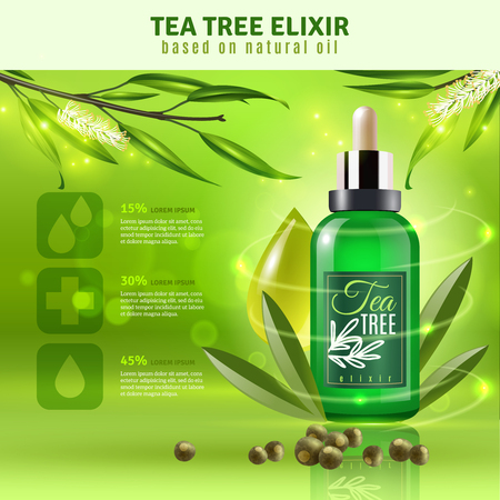 Tea tree elixir based on natural oil background with text field realistic vector illustration Çizim