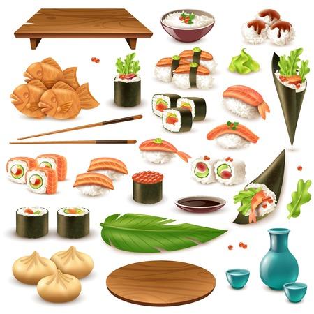 Reeks van Japans voedsel met inbegrip van sushi, belang, rijst in kom, bollen, wasabi, sojasaus geïsoleerde vectorillustratie