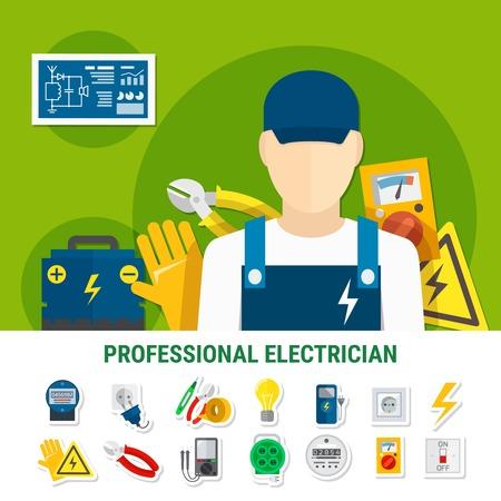 電気技師フラット アイコン作業工具、電球、プラグ ソケット セット ゲージ, 電圧記号バッテリー分離ベクトル図