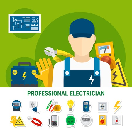 Electrician flat icons set with work tools, bulb, plug socket, gauge, voltage sign, battery isolated vector illustration