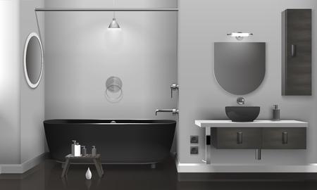 Conception d'intérieur de salle de bain réaliste avec équipement sanitaire noir, deux miroirs sur mur gris, illustration vectorielle de plancher brillant Vecteurs