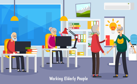 Gekleurd en vlak verouderd bejaarde mensen orthogonal concept met werkende oude mensen op kantoor vectorillustratie