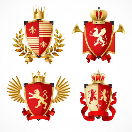 Heraldic coat of arms on shields realistic set isolated vector illustration