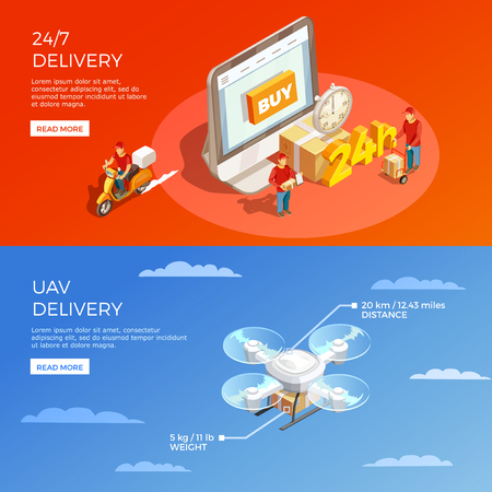 Delivery horizontal banners with online buy around the clock and courier drone compositions isometric vector illustration