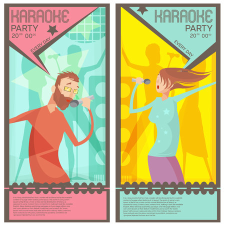 Karaoke party ticket templates with singing man and woman flat vector illustration