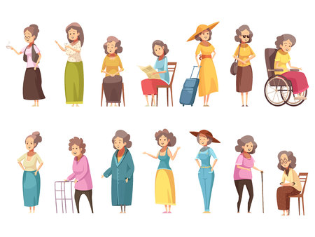 Senior woman disable old citizens with walking cane retro cartoon icons 2 banners set isolated vector illustration