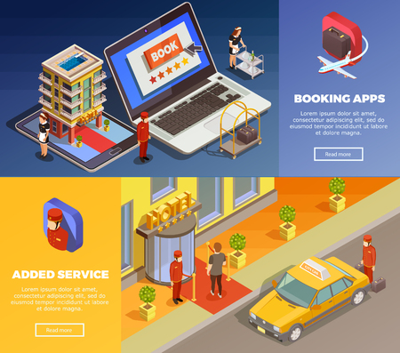 Hotel booking applications with added service isometric infographic colorful horizontal banners set isolated vector illustration