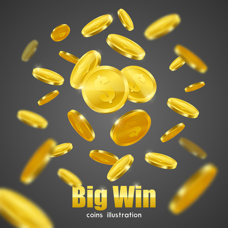 Big win business investment casino advertisement symbolic poster with flying gold coins on black background vector illustration Illustration
