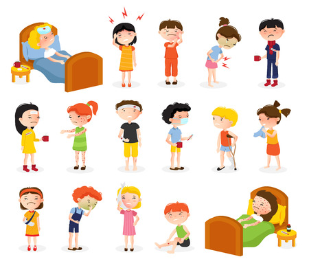 Cartoon sick boy and girl set of isolated doodle style teenager characters suffering from various diseases vector illustration