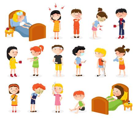Cartoon zieke jongen en meisje set van geïsoleerde doodle stijl tiener karakters lijden aan verschillende ziekten vector illustratie Stock Illustratie