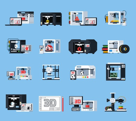 3D 인쇄 평면 아이콘 엔지니어링 모델링 설계 및 다른 수정 평면 벡터 일러스트 레이 션의 프린터에 대 한 장비의 집합 일러스트