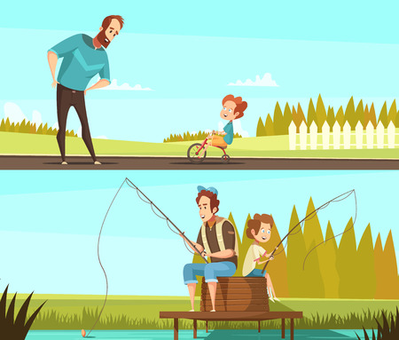 Fatherhood 2 retro cartoon outdoor activities banners with fishing together and little boy cycling isolated vector illustration Illustration