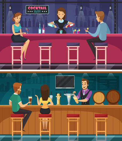 Cocktail bar cartoon horizontal banners with bar staff mixing drinks and young couple at bar rack flat vector illustration