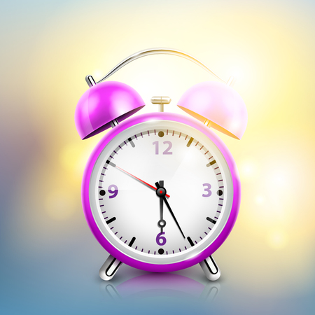 Realistic alarm clock background with purple clock and sunlight looks like morning day vector illustration