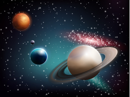neptuno: Planet set realistic composition with saturn in the foreground and the earth with a mars on back vector illustration