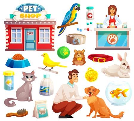 De decoratieve die pictogrammen van de dierenwinkel met de hond van het papegaaikonijn en kattenpictogrammen en goederen voor huisdierenbeeldverhaal geïsoleerde vectorillustratie worden geplaatst Stock Illustratie