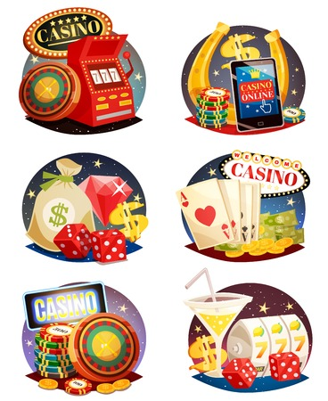 Casino decorative compositions isometric design elements with slot machine playing cards roulette and chips  isolated vector illustration Illustration