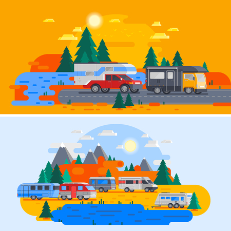 Two colored and horizontal recreational vehicles orthogonal flat composition with bright colors vector illustration