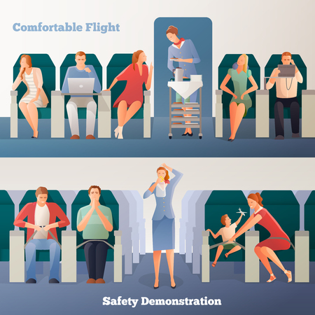People in airplane horizontal banners with sitting passengers stewardess with drinks and safety demonstration isolated vector illustration Ilustração