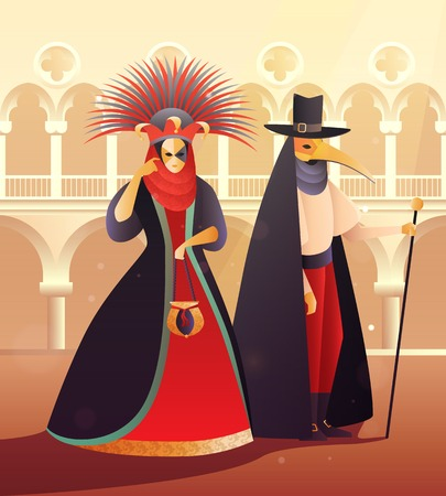 Carnival party with people wearing dresses and costumes flat vector illustration
