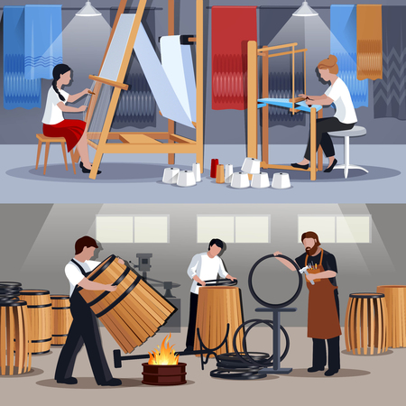 Craftspeople at work 2 flat banners composition with coopers barrelmakers ans wavers at looms isolated vector illustration