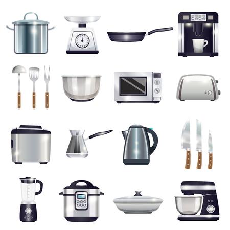 커피 기계, 토스터, 블렌더, 전자 레인지, 음식 프로세서, 주전자, cezve, 칼 세트 격리 된 벡터 일러스트 레이 션