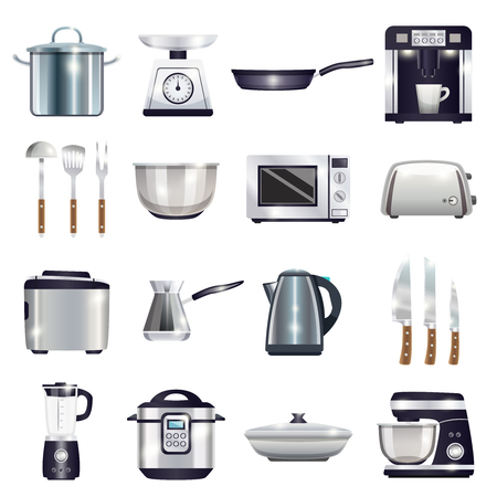 Kitchen accessories set with coffee machine, toaster, blender, microwave, food processor, kettle, cezve, knives isolated vector illustration Illustration