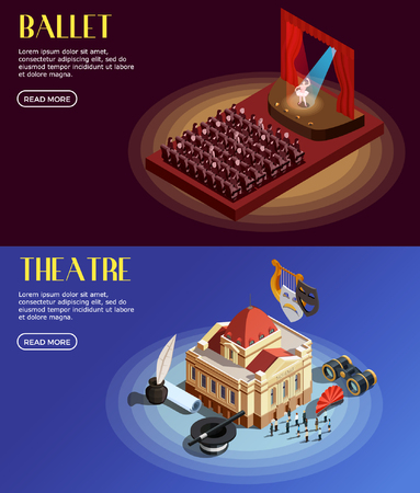 Theatre banner isometric set of horizontal opera and ballet compositions with text and read more button vector illustration Illustration