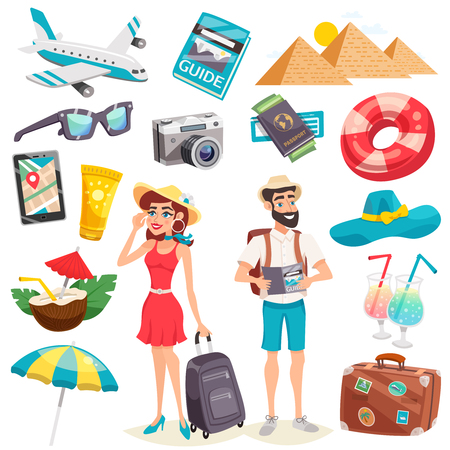 Summer holiday icons set with tourists luggage airplane mobile device egyptian pyramids and cocktails isolated vector illustration Illustration