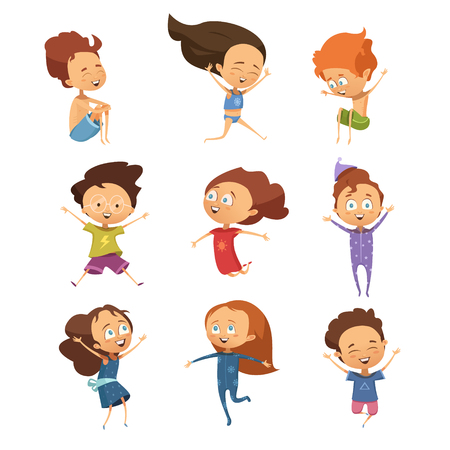 Set of isolated cute cartoon images of funny jumping little boys and girls in retro style flat  vector illustration Illustration