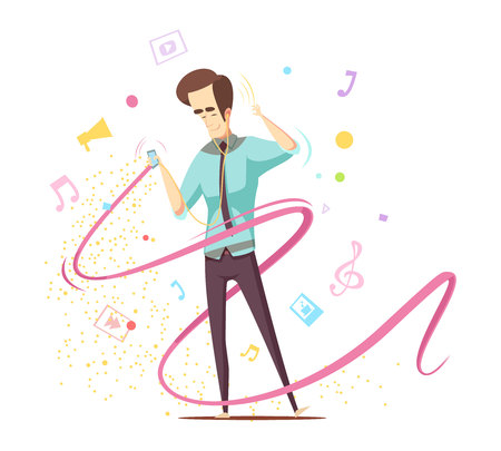 Man listening music with earphones and audio player design concept with note signs, treble clef vector illustration
