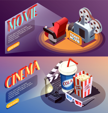 Set of two horizontal isometric cinema banners with compositions of cumbersome objects with read more button vector illustration Illustration