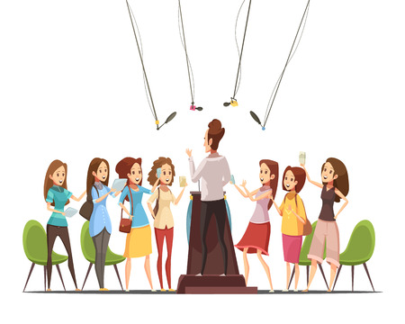 attending: Teenage girls with smartphones tablets attending event of interest and recording the speaker retro cartoon vector illustration Illustration