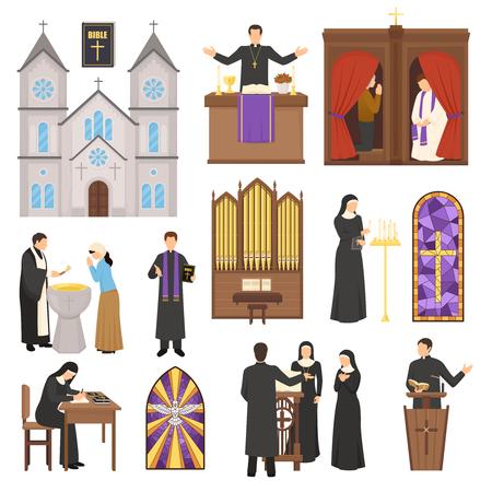 종교 평면 성당 인테리어 요소와 신부 및 흰색 배경에 고립 된 수녀 벡터 일러스트 레이 션을 설정합니다.