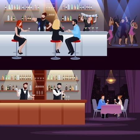 De samenstelling van de twee horizontale die cocktailmensen met atmosfeer in bar en restaurant vectorillustratie wordt geplaatst