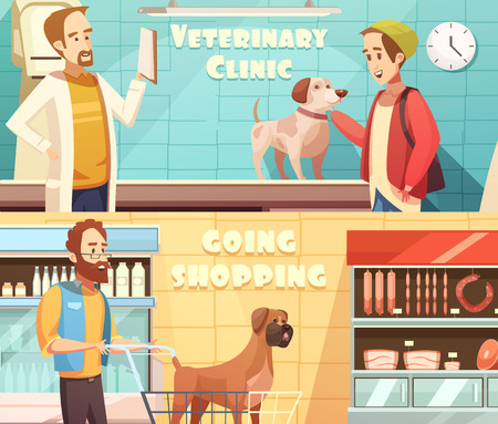 Dog horizontal banners set with veterinary and shopping symbols cartoon isolated vector illustration