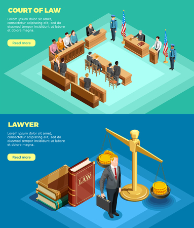 Set of two horizontal law banners with isometric compositions of court proceedings with read more button vector illustration Illusztráció