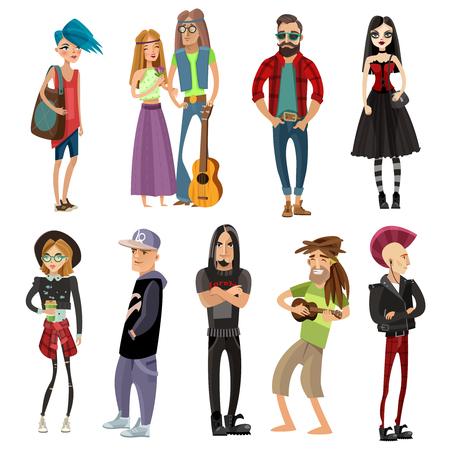 ヒッピー ヒップスター ゴス パンク ラッパーとラスタファリアン分離ベクトル図の漫画スタイルのサブカルチャーの人々 セット