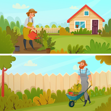 Two colored horizontal gardening banner set with seedlings and watering flower beds vector illustration