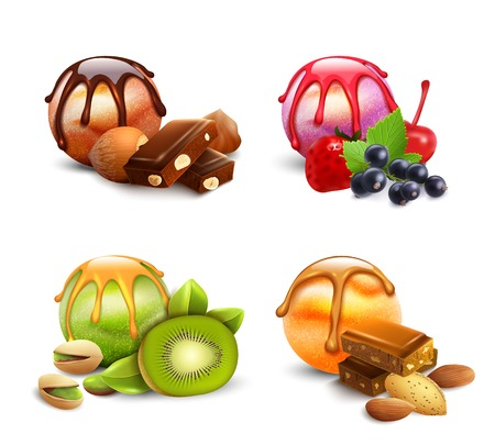 Set of isolated ice cream scoop assortment images with jam berries chocolate kiwi and nuts toppings vector illustration