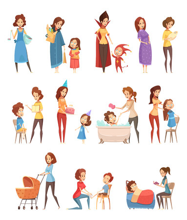Motherhood child-rearing shopping playing walking reading to kids retro cartoon icons 3 banners set isolated vector illustration Çizim