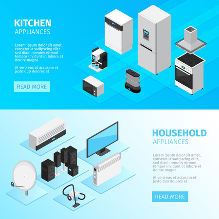 Household appliances horizontal banners with kitchen equipment and digital and electronic devices isometric vector illustration Illustration