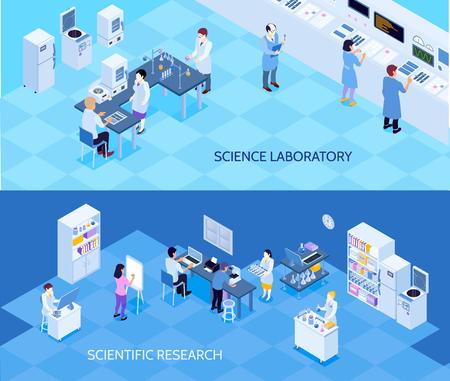 Science Science orizzontali Bandiere isometriche con persone che conducono personale personale su sfondo blu isolato illustrazione vettoriale