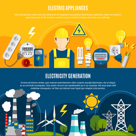Horizontal flat banners with electric appliances and power generation on blue and yellow background isolated vector illustration Ilustração