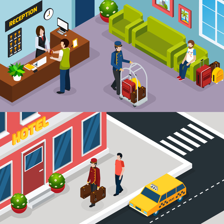Two horizontal hotel service isometric banner set with working process on reception and welcome guest service vector illustration Ilustrace