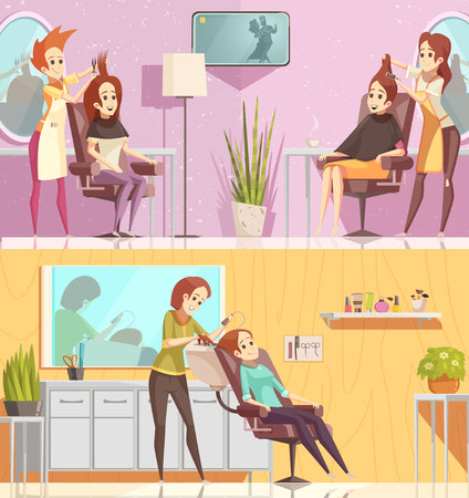 Hair salon service 2 retro cartoon horizontal banners set with styling cutting coloring treatments isolated vector illustration