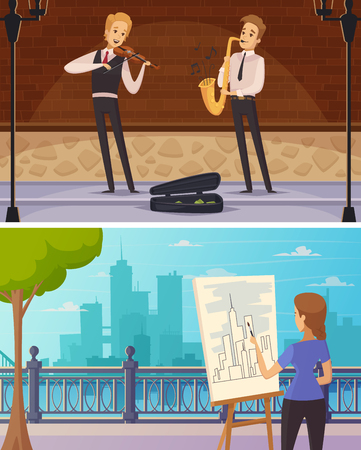 Street artists cartoon horizontal banners with girl at easel and musicians playing outdoor flat vector illustration