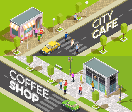 shopfront: Set of two horizontal cafe isometric banners with urban scenery and small coffee shops with 3d text vector illustration