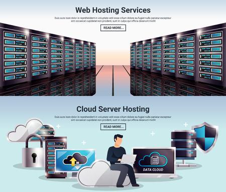 Two colored horizontal datacenter banner set with web hosting services cloud server hosting descriptions vector illustration