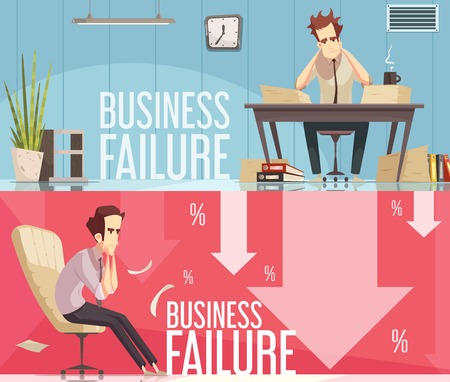 Business failure 2 retro cartoon banners with frustrated businessman sitting in red arrows down isolated vector illustration Imagens - 83426501
